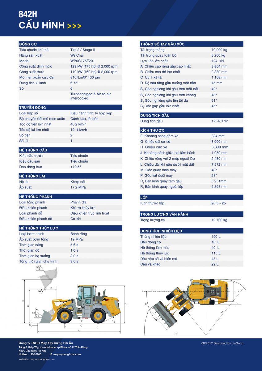 Thông số kỹ thuật của máy xúc lật liugong 842H